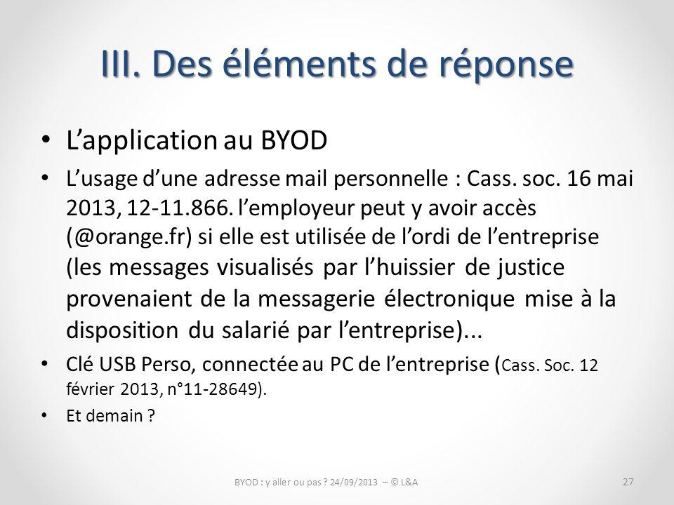 Lapplication au BYOD Lusage dune adresse mail personnelle : Cass.