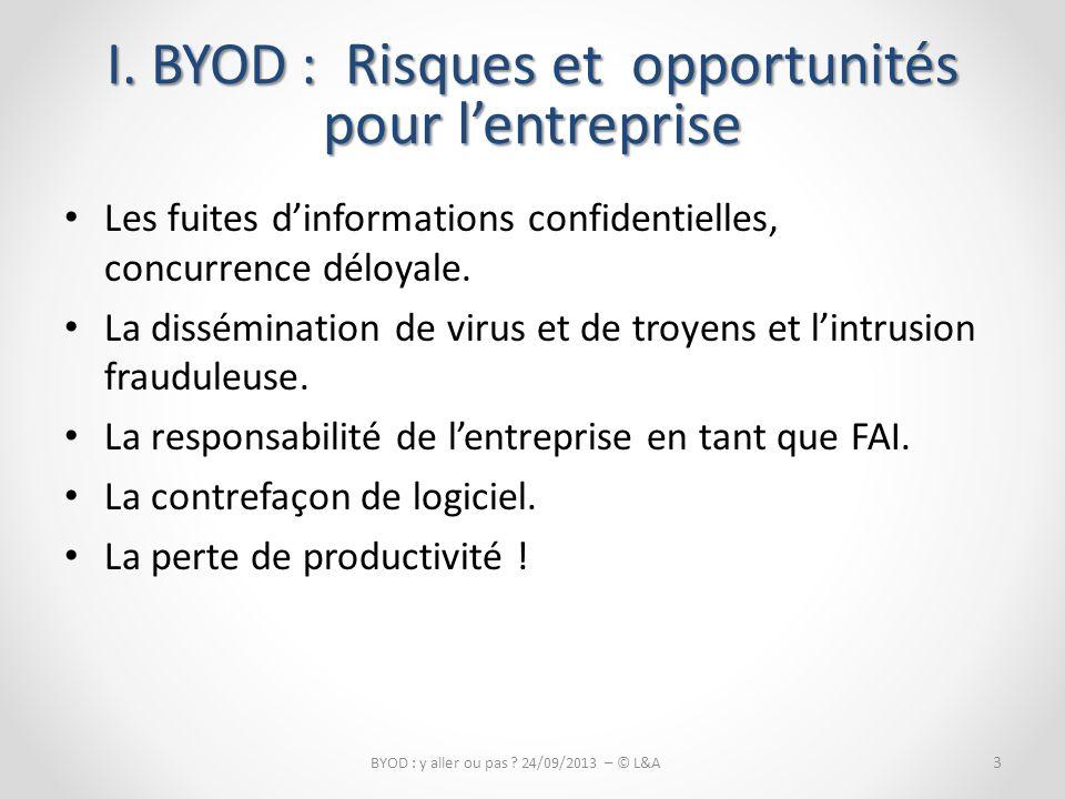 La perte de productivité.4 BYOD : y aller ou pas .