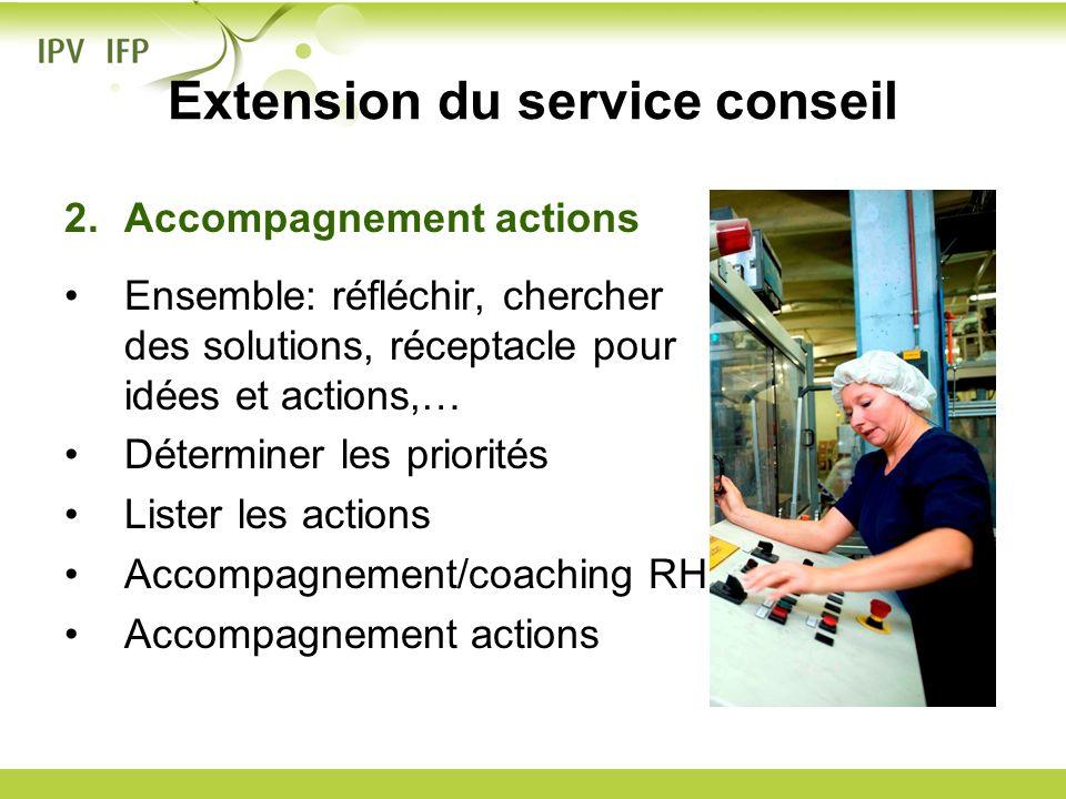 Extension du service conseil 2.Accompagnement actions Ensemble: réfléchir, chercher des solutions, réceptacle pour idées et actions,… Déterminer les p