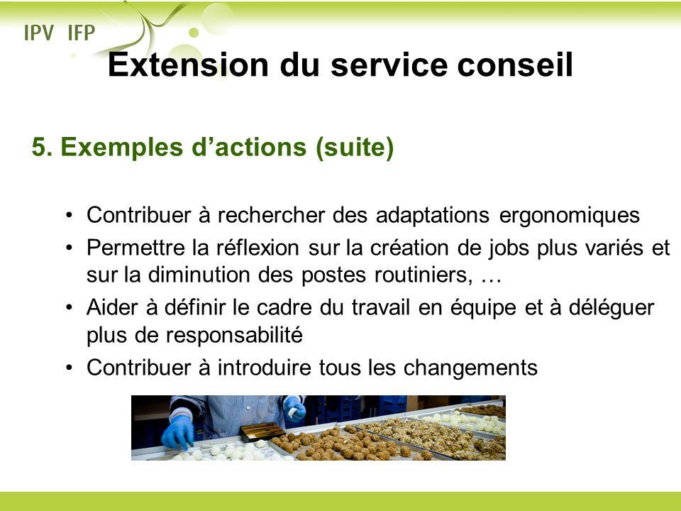 5. Exemples dactions (suite) Contribuer à rechercher des adaptations ergonomiques Permettre la réflexion sur la création de jobs plus variés et sur la