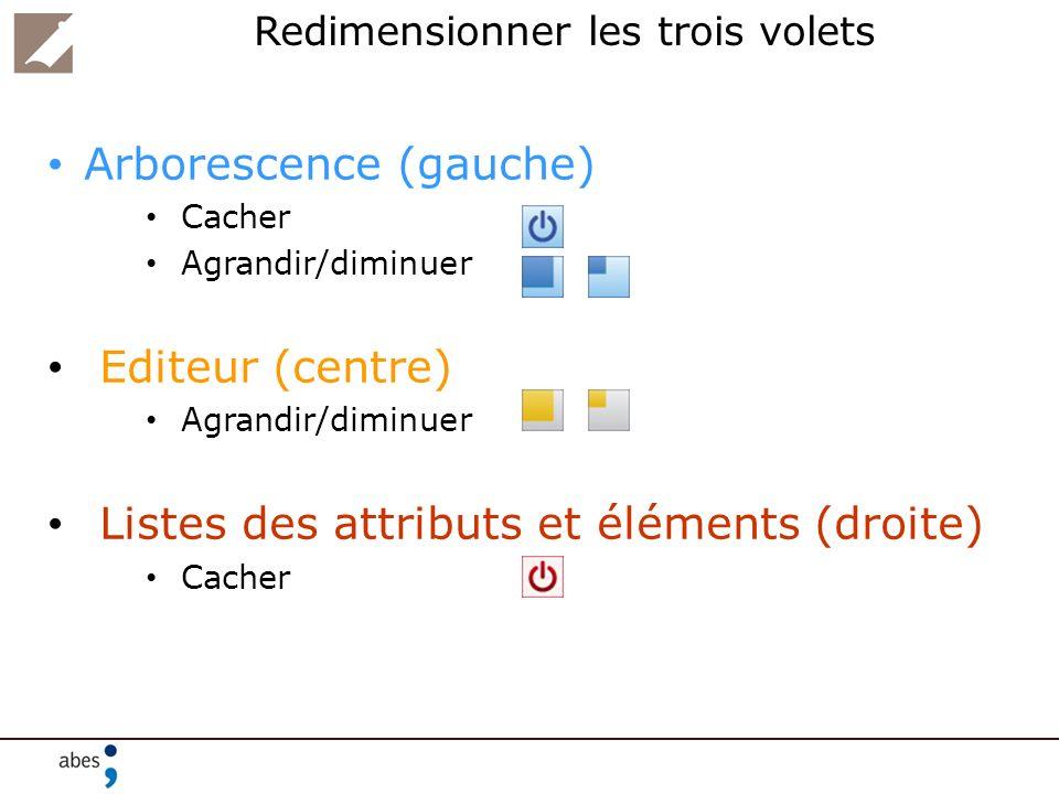 Redimensionner les trois volets Arborescence (gauche) Cacher Agrandir/diminuer Editeur (centre) Agrandir/diminuer Listes des attributs et éléments (dr