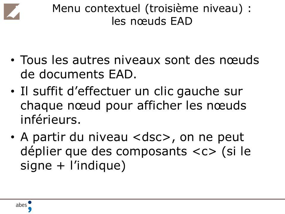 Menu contextuel (troisième niveau) : les nœuds EAD Tous les autres niveaux sont des nœuds de documents EAD. Il suffit deffectuer un clic gauche sur ch