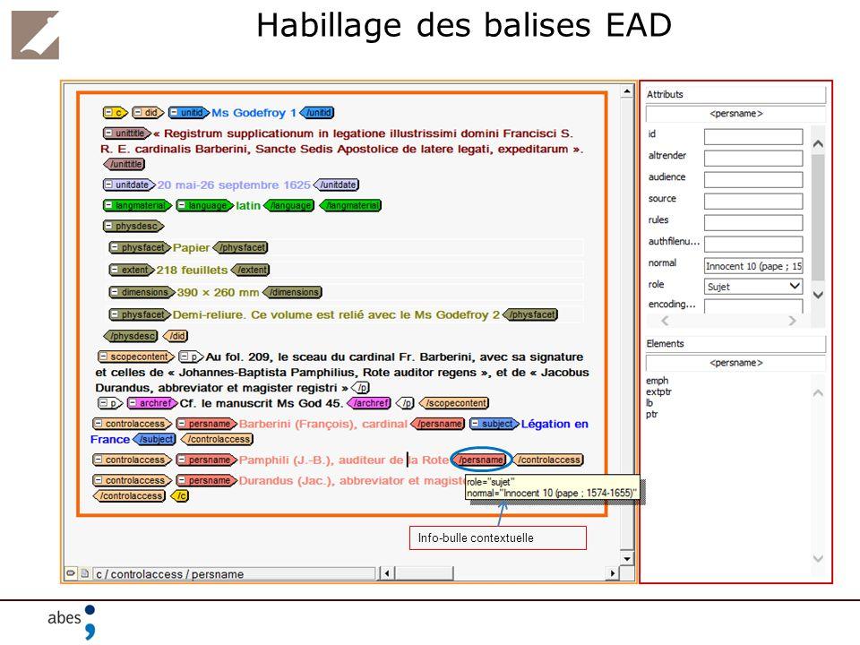 Habillage des balises EAD Info-bulle contextuelle