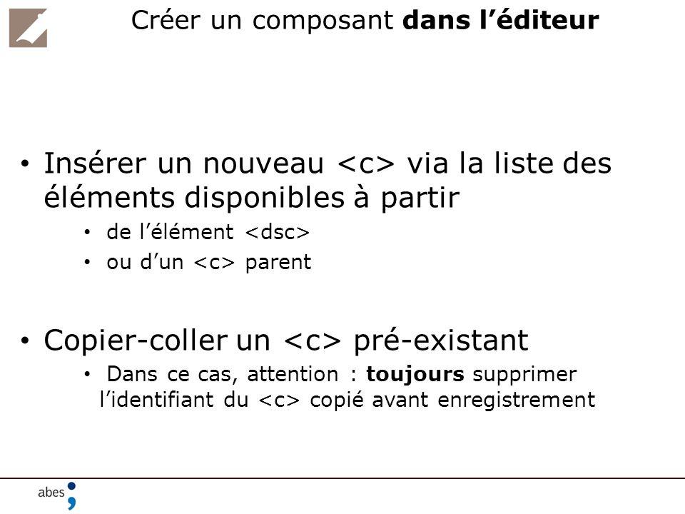 Créer un composant dans léditeur Insérer un nouveau via la liste des éléments disponibles à partir de lélément ou dun parent Copier-coller un pré-exis