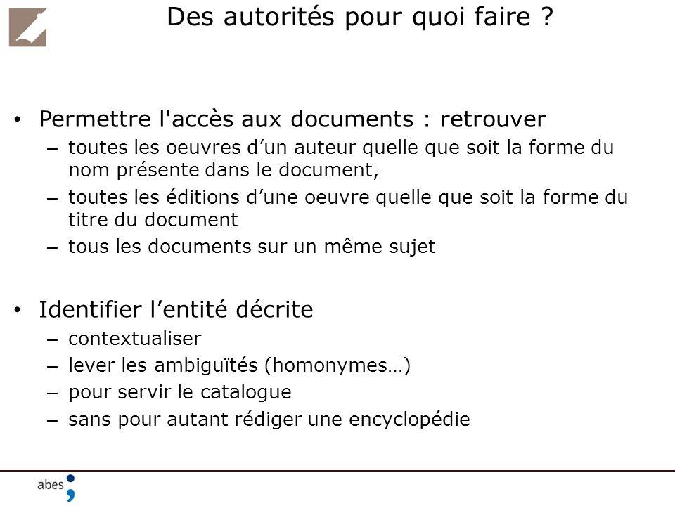 Des autorités pour quoi faire ? Permettre l'accès aux documents : retrouver – toutes les oeuvres dun auteur quelle que soit la forme du nom présente d