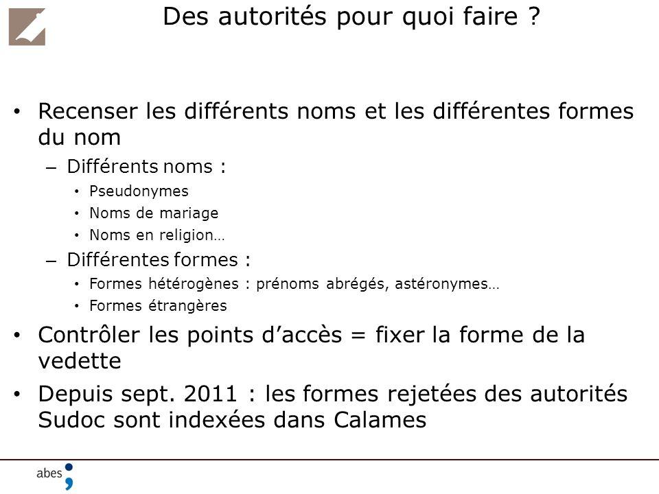 Des autorités pour quoi faire ? Recenser les différents noms et les différentes formes du nom – Différents noms : Pseudonymes Noms de mariage Noms en