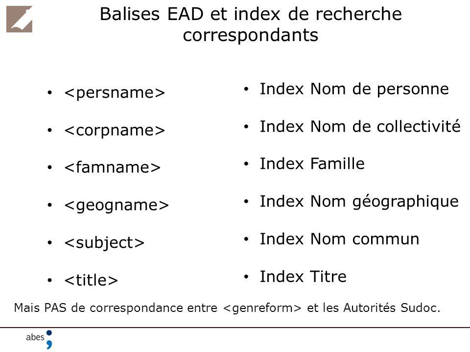 Balises EAD et index de recherche correspondants Index Nom de personne Index Nom de collectivité Index Famille Index Nom géographique Index Nom commun