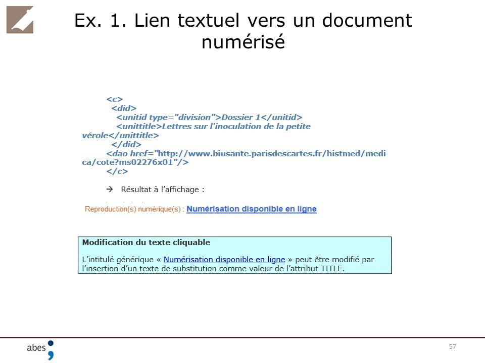 Ex. 1. Lien textuel vers un document numérisé 57