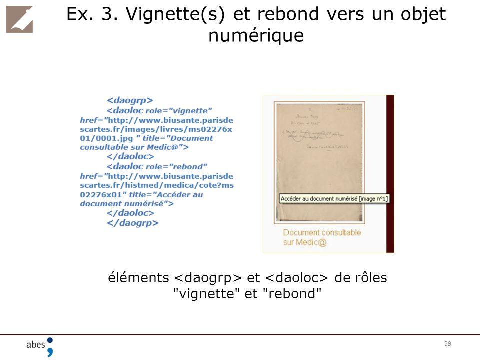 Ex. 3. Vignette(s) et rebond vers un objet numérique 59 éléments et de rôles