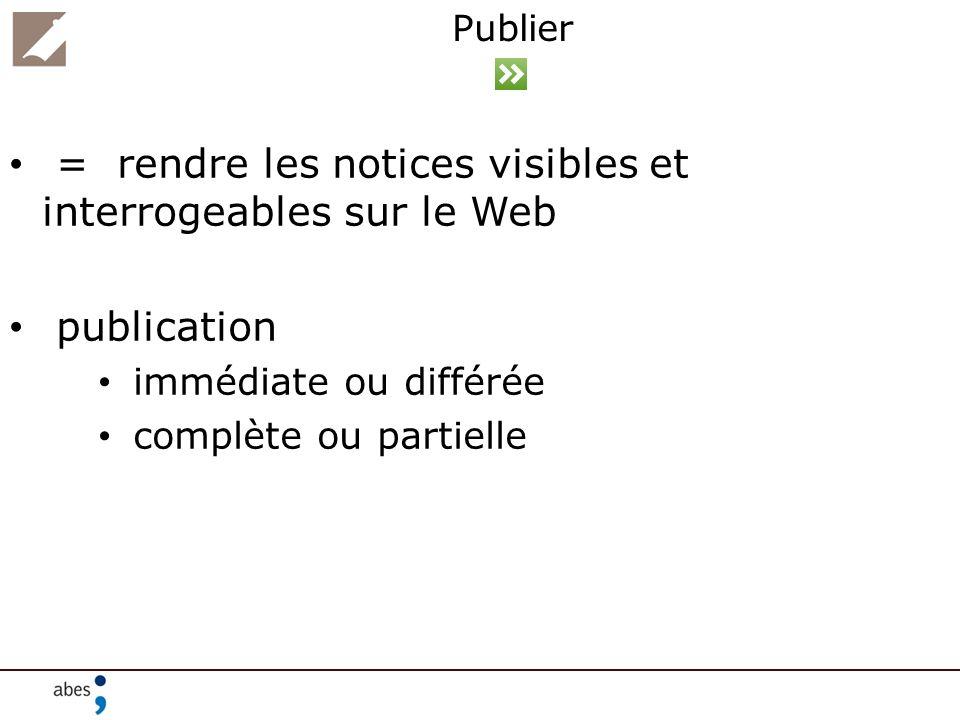 Publier = rendre les notices visibles et interrogeables sur le Web publication immédiate ou différée complète ou partielle
