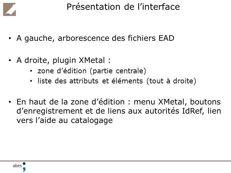 Tout EAD nest pas implémenté à dessein Certains éléments ne sont ni affichés ni indexés Exemple :,, … Certains attributs ne sont pas pris en compte Exemple : audience= internal (utiliser les commentaires XML le cas échéant)