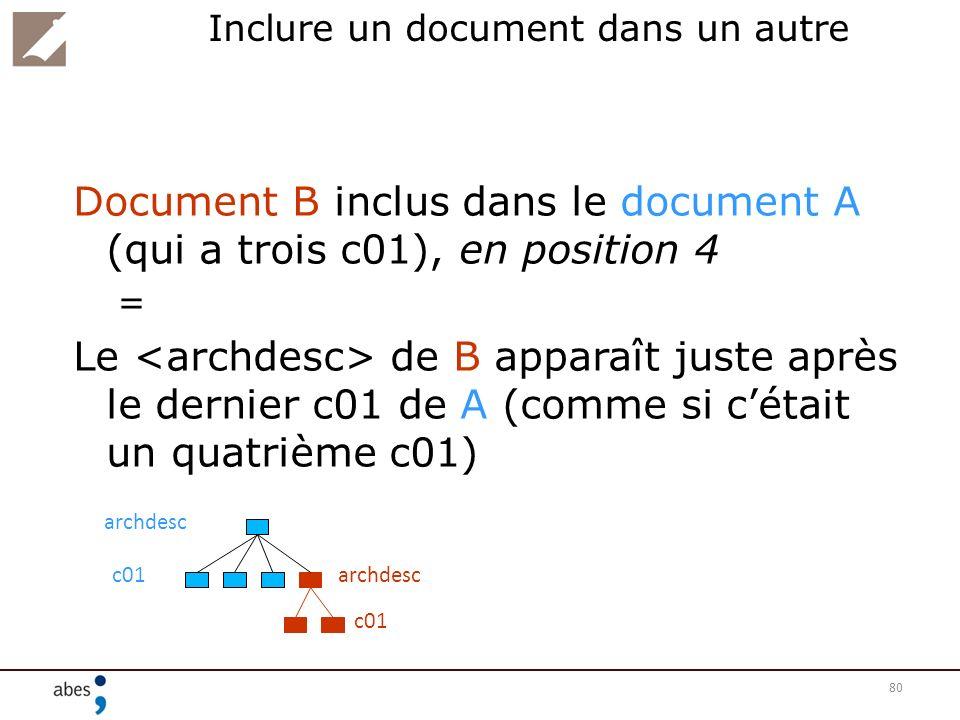 80 Inclure un document dans un autre Document B inclus dans le document A (qui a trois c01), en position 4 = Le de B apparaît juste après le dernier c