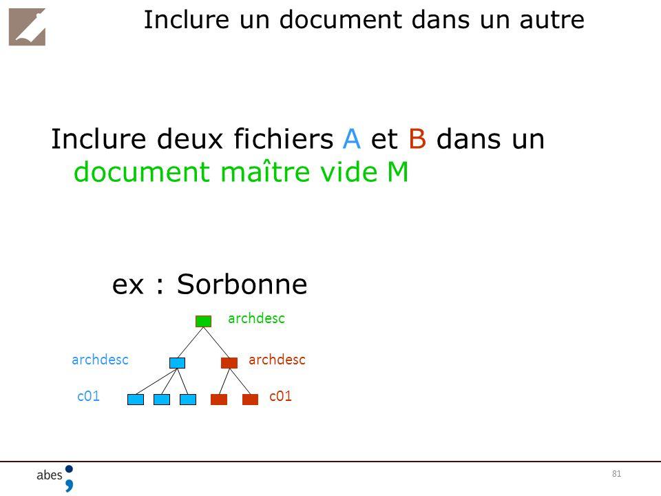 81 Inclure un document dans un autre Inclure deux fichiers A et B dans un document maître vide M ex : Sorbonne archdesc c01 archdesc c01 archdesc