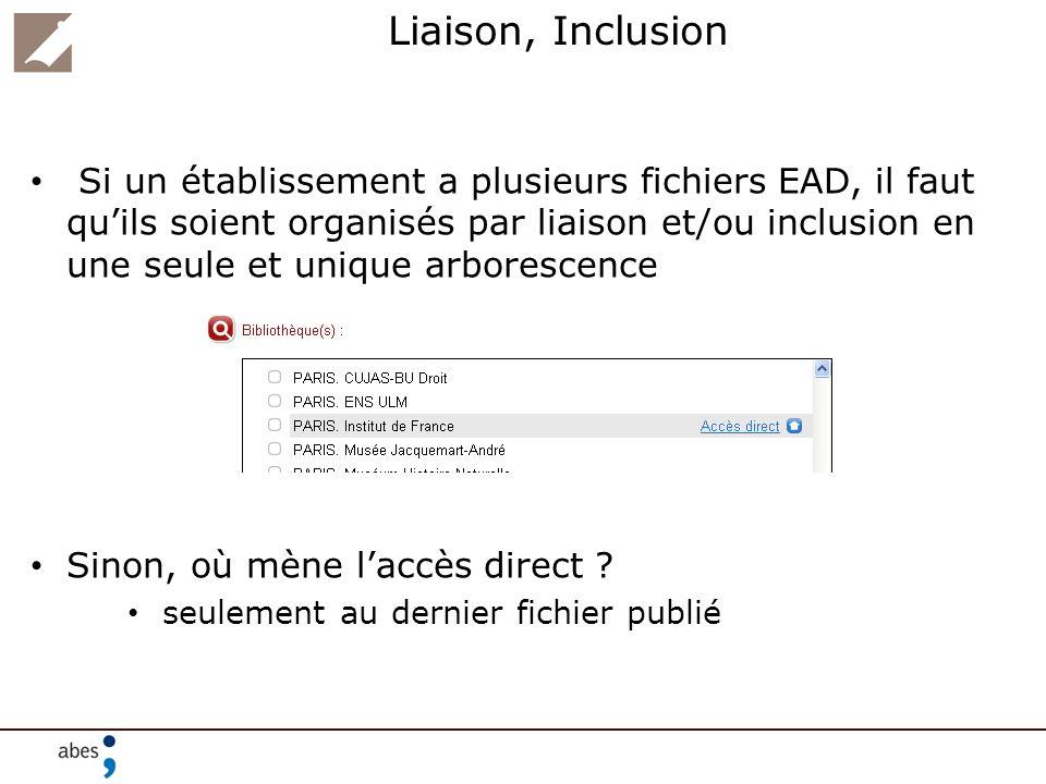 Liaison, Inclusion Si un établissement a plusieurs fichiers EAD, il faut quils soient organisés par liaison et/ou inclusion en une seule et unique arb