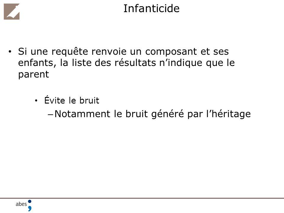 Infanticide Si une requête renvoie un composant et ses enfants, la liste des résultats nindique que le parent Évite le bruit – Notamment le bruit géné