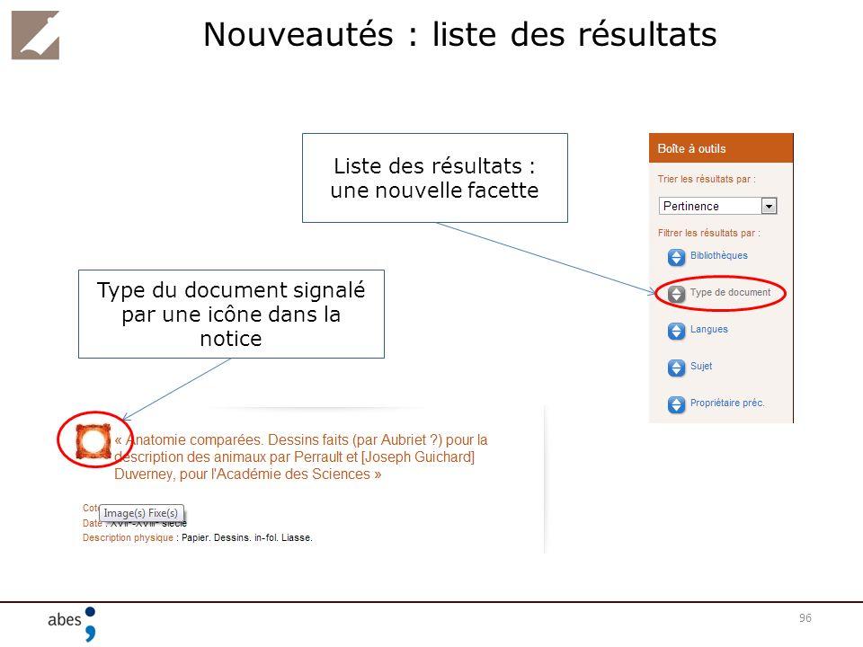 Nouveautés : liste des résultats 96 Liste des résultats : une nouvelle facette Type du document signalé par une icône dans la notice