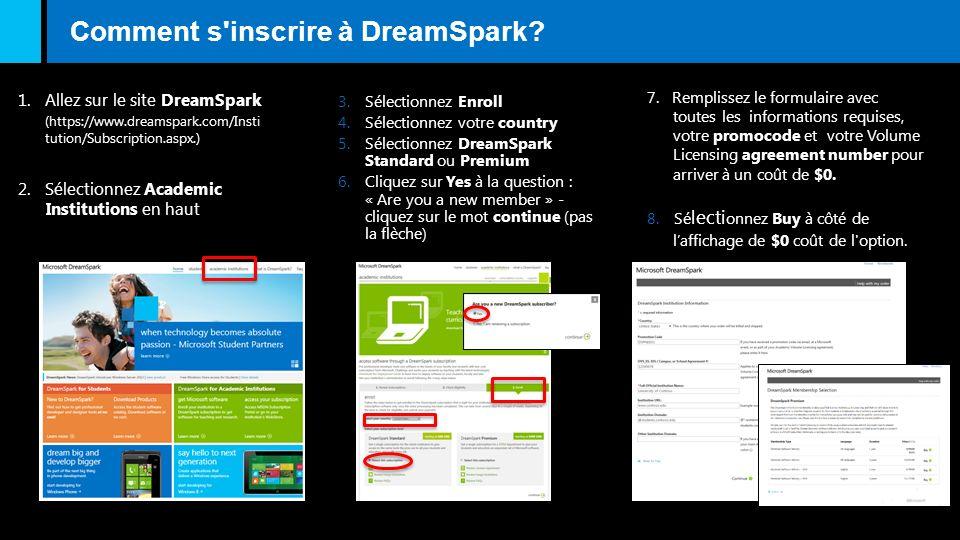 Comment s'inscrire à DreamSpark? 1. Allez sur le site DreamSpark 2. Sélectionnez Academic Institutions en haut 3.Sélectionnez Enroll 4.Sélectionnez vo