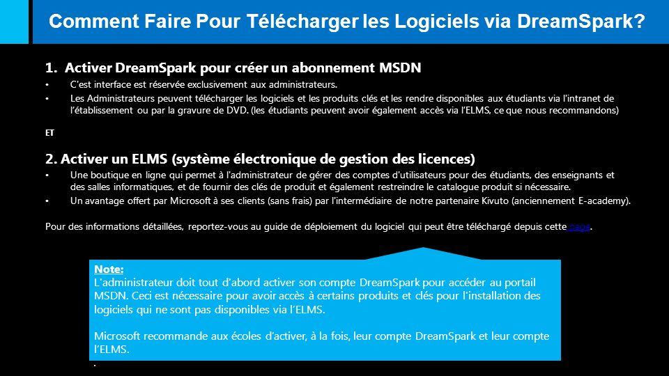 Comment Faire Pour Télécharger les Logiciels via DreamSpark? 1. Activer DreamSpark pour créer un abonnement MSDN C'est interface est réservée exclusiv