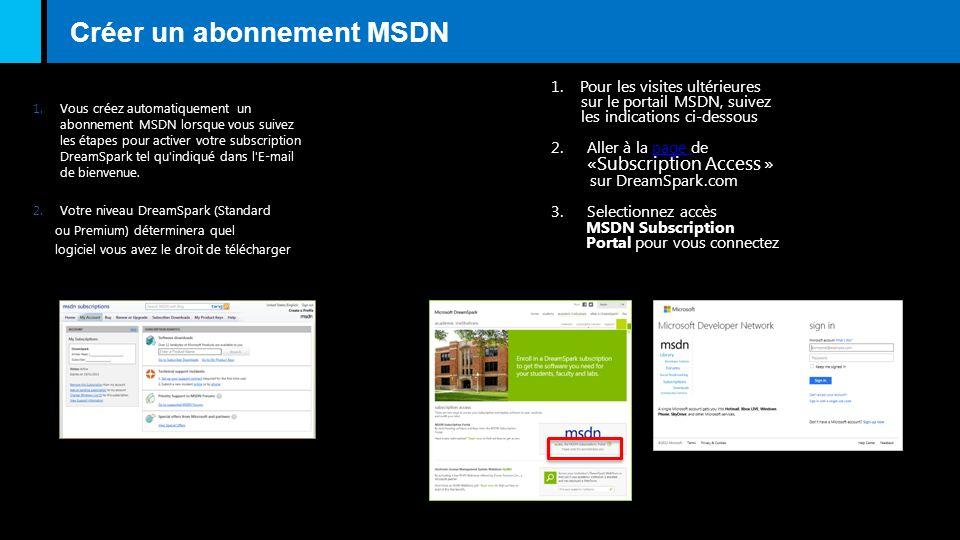 Créer un abonnement MSDN 1.Vous créez automatiquement un abonnement MSDN lorsque vous suivez les étapes pour activer votre subscription DreamSpark tel qu indiqué dans l E-mail de bienvenue.