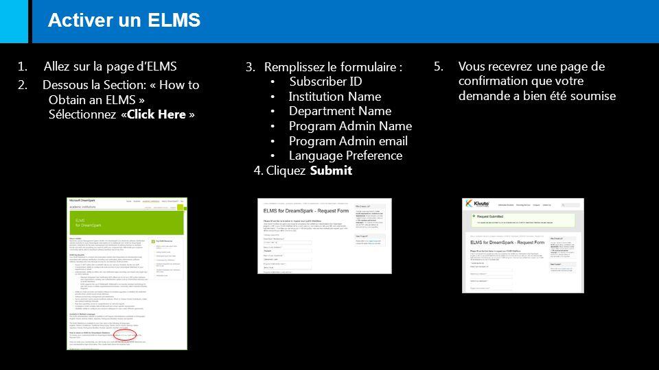 Activer un ELMS 1. Allez sur la page dELMS 2.Dessous la Section: « How to Obtain an ELMS » Sélectionnez «Click Here » 3.Remplissez le formulaire : Sub