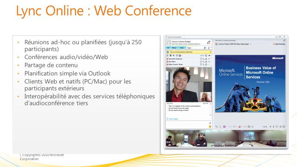 | Copyright© 2010 Microsoft Corporation Lync Online : Web Conference Réunions ad-hoc ou planifiées (jusquà 250 participants) Conférences audio/vidéo/W
