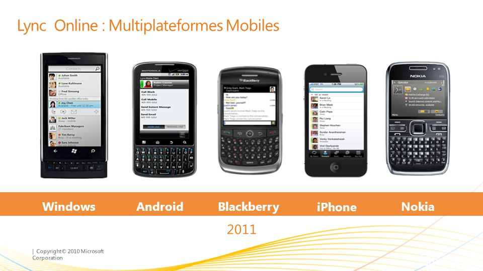 | Copyright© 2010 Microsoft Corporation Lync Online : Multiplateformes Mobiles 2011 iPhone BlackberryAndroidWindows Phone 7 Nokia