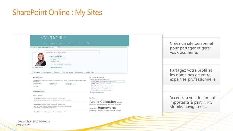 | Copyright© 2010 Microsoft Corporation Partagez votre profil et les domaines de votre expertise professionnelle Accédez à vos documents importants à partir : PC, Mobile, navigateur… Créez un site personnel pour partager et gérer vos documents SharePoint Online : My Sites