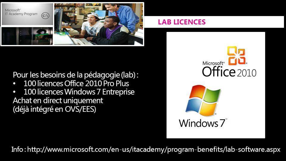 Pour les besoins de la pédagogie (lab) : 100 licences Office 2010 Pro Plus 100 licences Windows 7 Entreprise Achat en direct uniquement (déjà intégré en OVS/EES) Info : http://www.microsoft.com/en-us/itacademy/program-benefits/lab-software.aspx