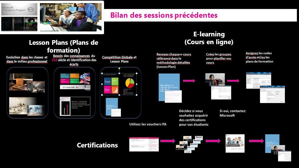 Bilan des sessions précédentes E-learning (Cours en ligne) Lesson Plans (Plans de formation) Certifications