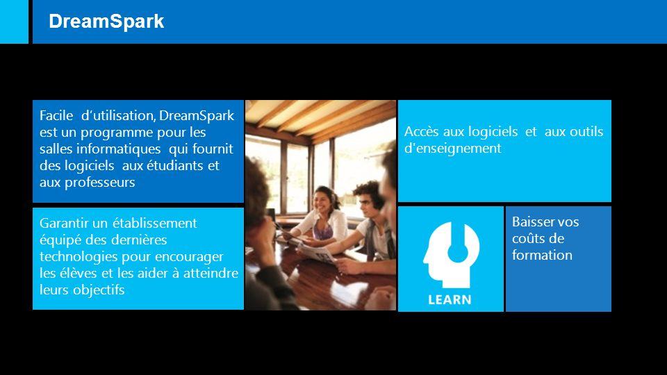 Accès aux logiciels et aux outils d enseignement Facile dutilisation, DreamSpark est un programme pour les salles informatiques qui fournit des logiciels aux étudiants et aux professeurs DreamSpark Baisser vos coûts de formation Garantir un établissement équipé des dernières technologies pour encourager les élèves et les aider à atteindre leurs objectifs