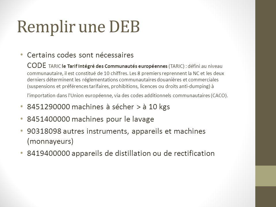 Remplir une DEB Certains codes sont nécessaires CODE TARIC le Tarif Intégré des Communautés européennes (TARIC) : défini au niveau communautaire, il est constitué de 10 chiffres.
