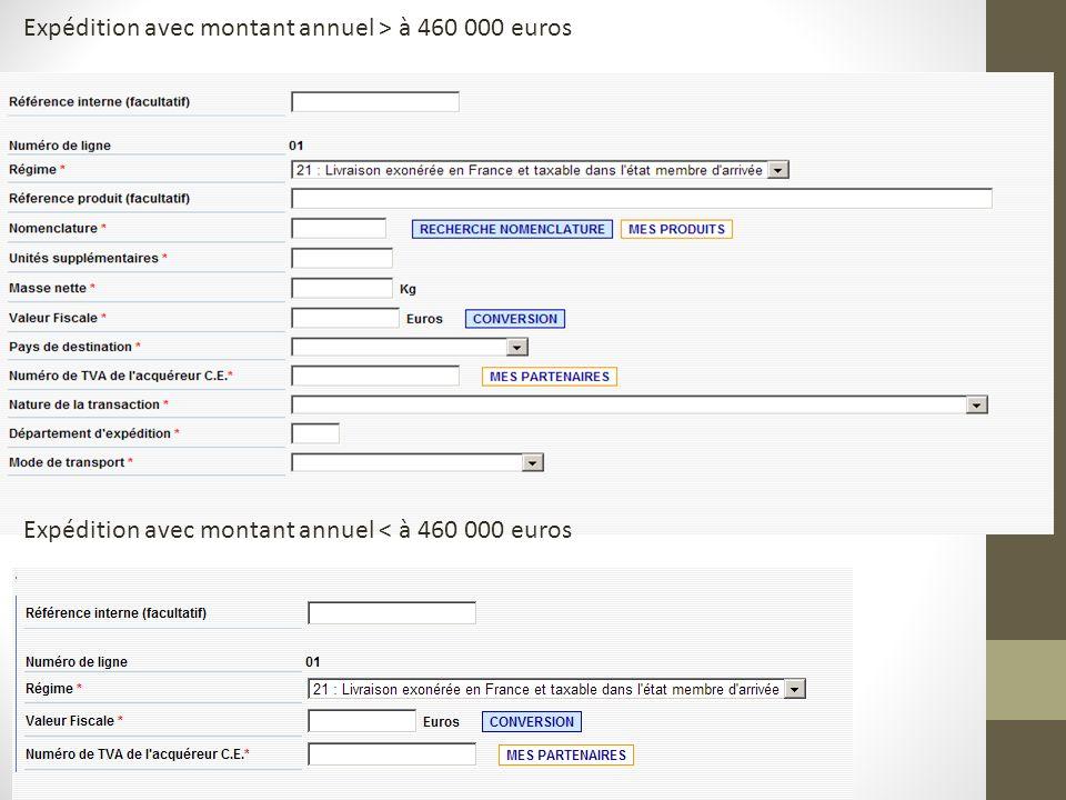 Expédition avec montant annuel > à 460 000 euros Expédition avec montant annuel < à 460 000 euros