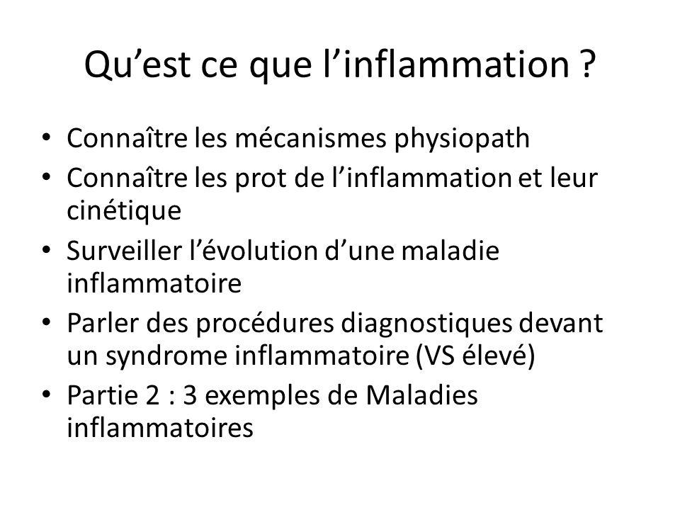 Quest ce que linflammation ? Connaître les mécanismes physiopath Connaître les prot de linflammation et leur cinétique Surveiller lévolution dune mala