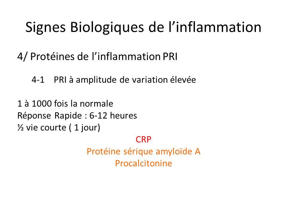 Signes Biologiques de linflammation 4/ Protéines de linflammation PRI 4-1 PRI à amplitude de variation élevée 1 à 1000 fois la normale Réponse Rapide
