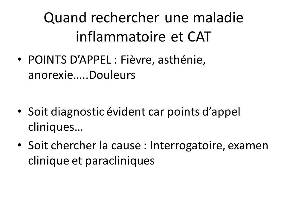 Quand rechercher une maladie inflammatoire et CAT POINTS DAPPEL : Fièvre, asthénie, anorexie…..Douleurs Soit diagnostic évident car points dappel clin