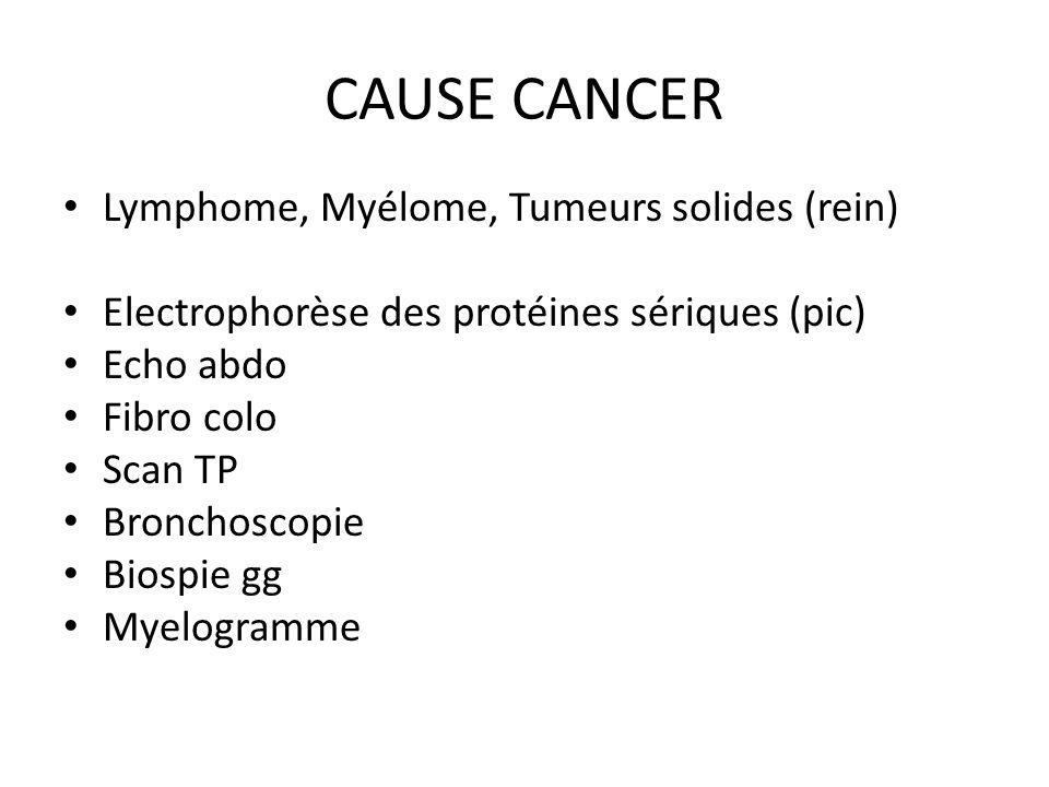 CAUSE CANCER Lymphome, Myélome, Tumeurs solides (rein) Electrophorèse des protéines sériques (pic) Echo abdo Fibro colo Scan TP Bronchoscopie Biospie