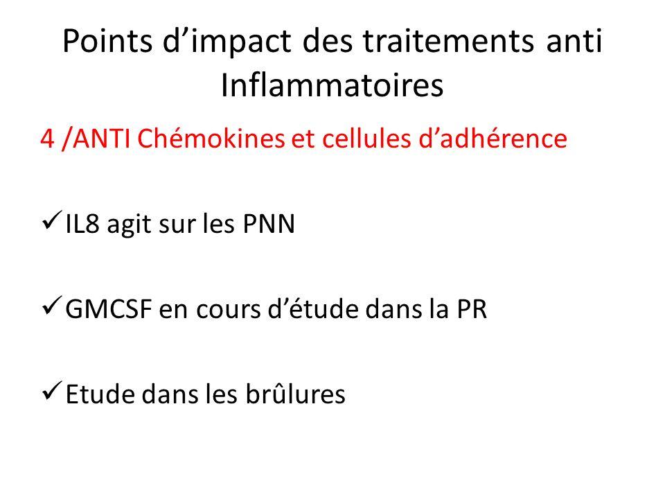 Points dimpact des traitements anti Inflammatoires 4 /ANTI Chémokines et cellules dadhérence IL8 agit sur les PNN GMCSF en cours détude dans la PR Etu