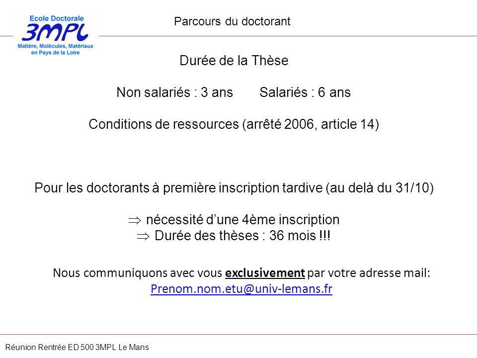 Réunion Rentrée ED 500 3MPL Le Mans Durée de la Thèse Non salariés : 3 ans Salariés : 6 ans Conditions de ressources (arrêté 2006, article 14) Pour le