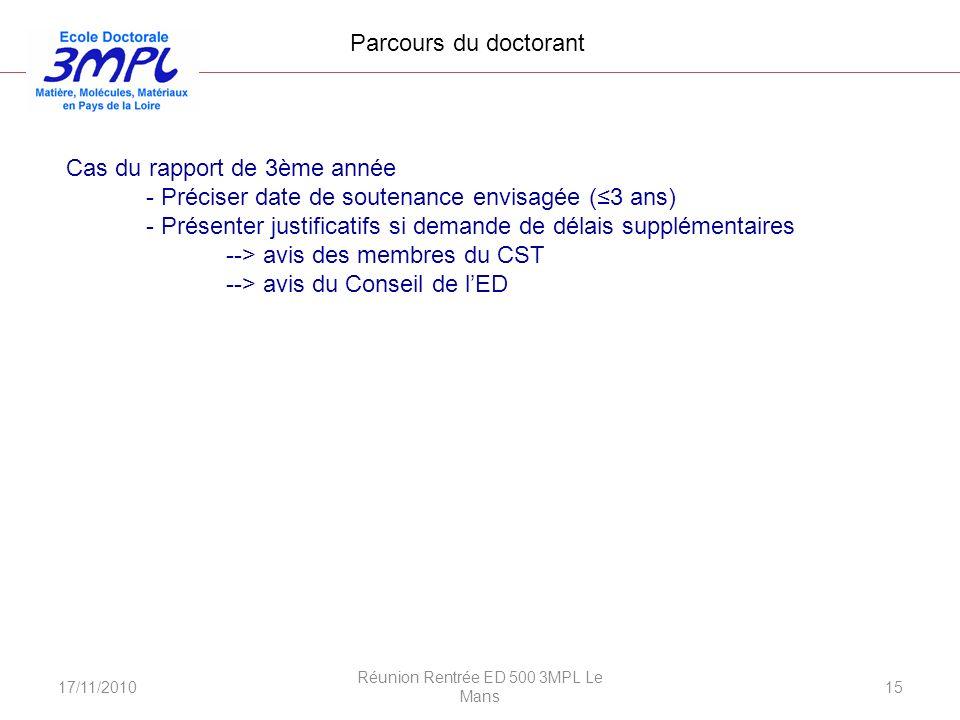 17/11/2010 Réunion Rentrée ED 500 3MPL Le Mans 15 Cas du rapport de 3ème année - Préciser date de soutenance envisagée (3 ans) - Présenter justificati