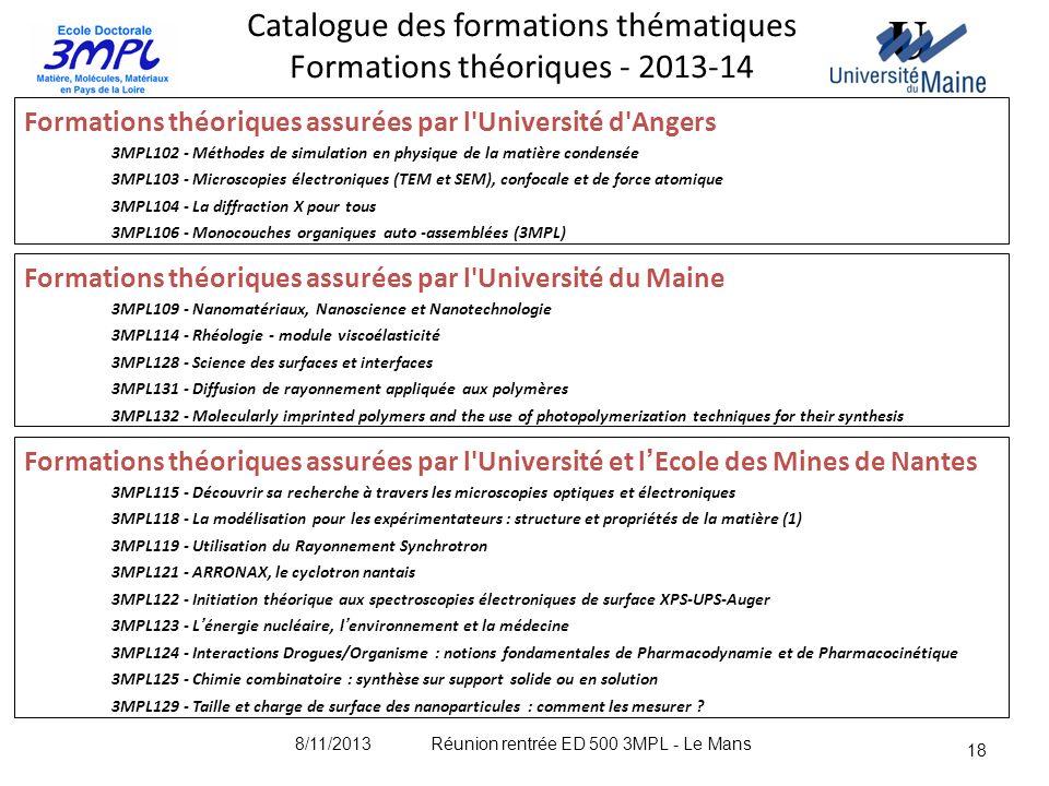 18 Catalogue des formations thématiques Formations théoriques - 2013-14 Formations théoriques assurées par l'Université d'Angers 3MPL102 - Méthodes de