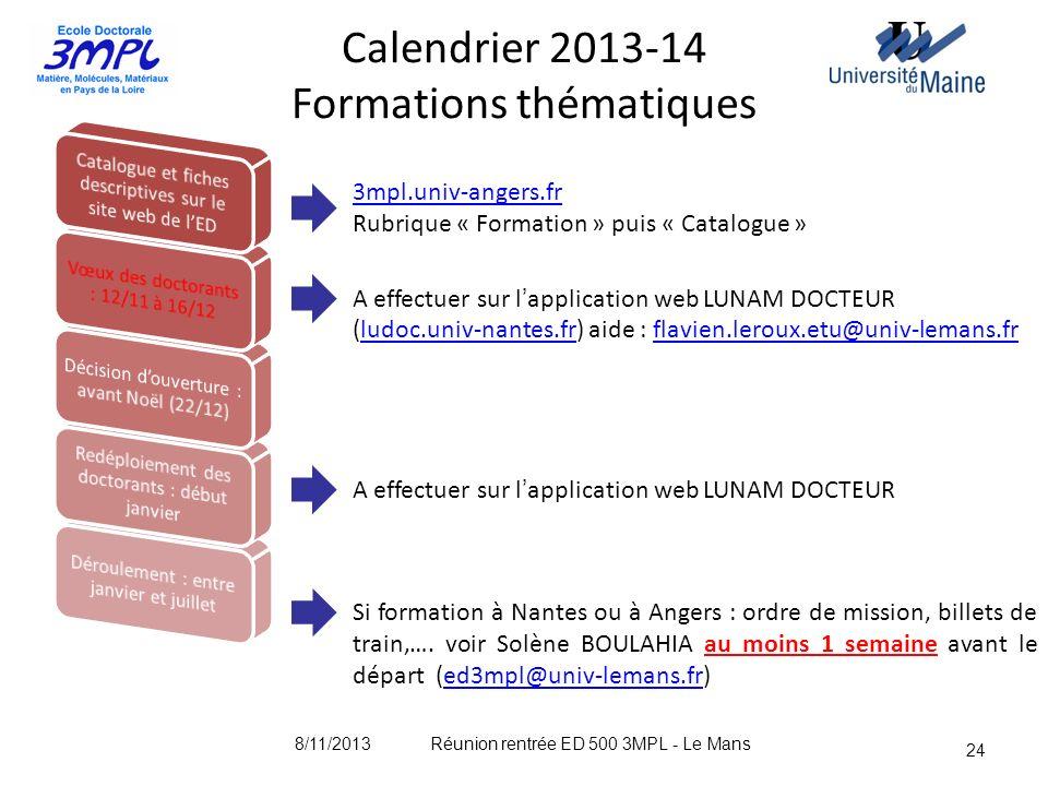 24 Calendrier 2013-14 Formations thématiques A effectuer sur lapplication web LUNAM DOCTEUR (ludoc.univ-nantes.fr) aide : flavien.leroux.etu@univ-lema