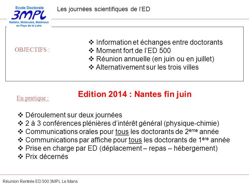 Les journées scientifiques de lED Information et échanges entre doctorants Moment fort de lED 500 Réunion annuelle (en juin ou en juillet) Alternative