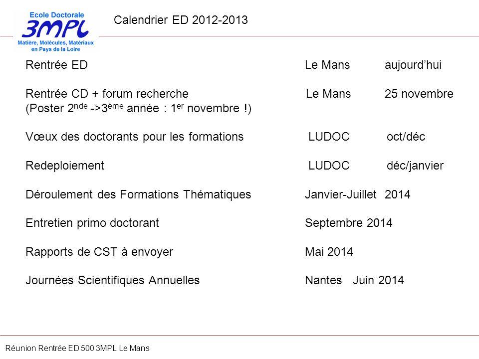 Rentrée ED Le Mans aujourdhui Rentrée CD + forum recherche Le Mans25 novembre (Poster 2 nde ->3 ème année : 1 er novembre !) Vœux des doctorants pour