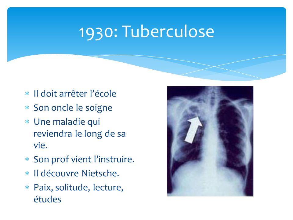 1930: Tuberculose Il doit arrêter lécole Son oncle le soigne Une maladie qui reviendra le long de sa vie. Son prof vient linstruire. Il découvre Niets