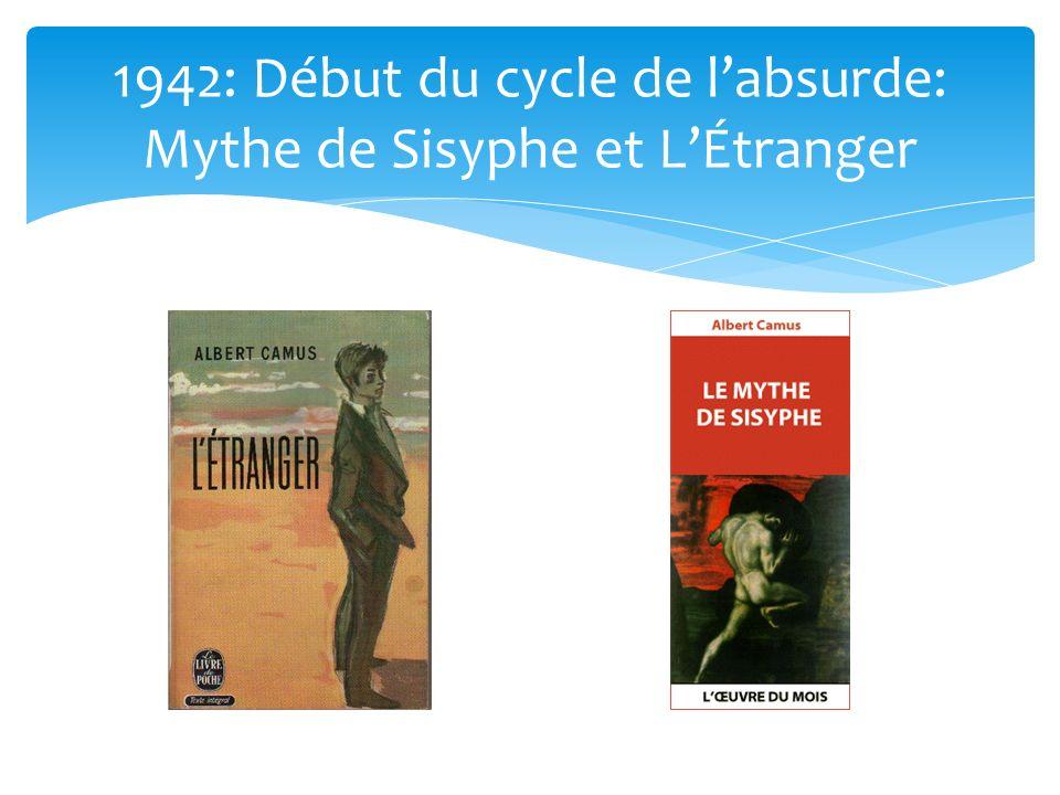 1942: Début du cycle de labsurde: Mythe de Sisyphe et LÉtranger