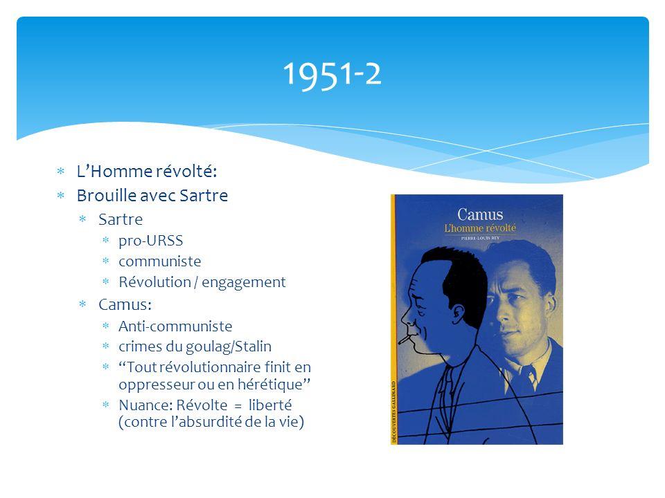 1951-2 LHomme révolté: Brouille avec Sartre Sartre pro-URSS communiste Révolution / engagement Camus: Anti-communiste crimes du goulag/Stalin Tout révolutionnaire finit en oppresseur ou en hérétique Nuance: Révolte = liberté (contre labsurdité de la vie)