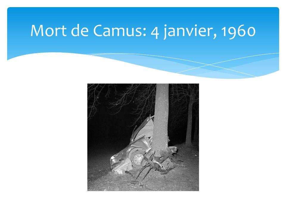 Mort de Camus: 4 janvier, 1960