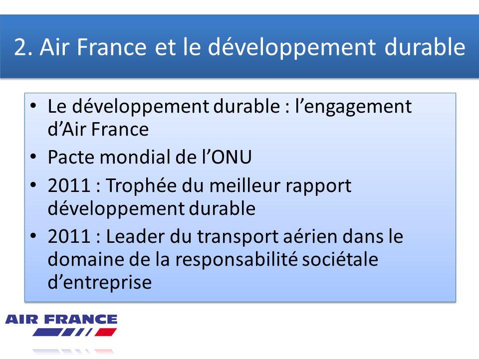 2. Air France et le développement durable Le développement durable : lengagement dAir France Pacte mondial de lONU 2011 : Trophée du meilleur rapport