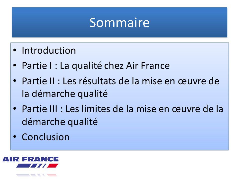 Sommaire Introduction Partie I : La qualité chez Air France Partie II : Les résultats de la mise en œuvre de la démarche qualité Partie III : Les limi