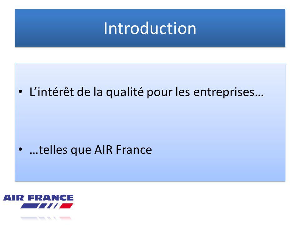 Introduction Lintérêt de la qualité pour les entreprises… …telles que AIR France Lintérêt de la qualité pour les entreprises… …telles que AIR France